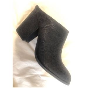 Black textile bootie-styled mule
